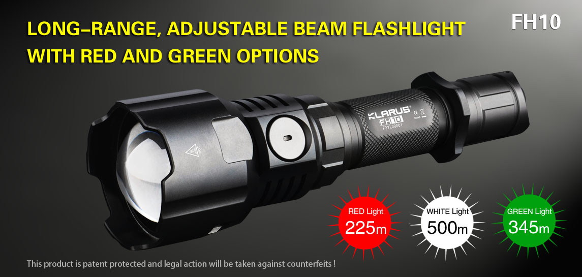 fh10 f series led rechargeable brightest tactical flashlight klarus
